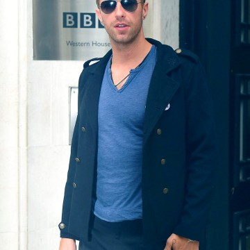 Chris Martin Visits BBC Radio 1 Studios